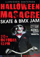 A poster for a local halloween bmx competition in Cardiff