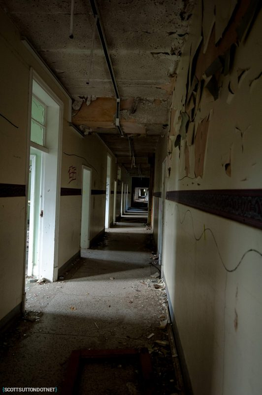 Empty corridor at Mountain Ash Hospital