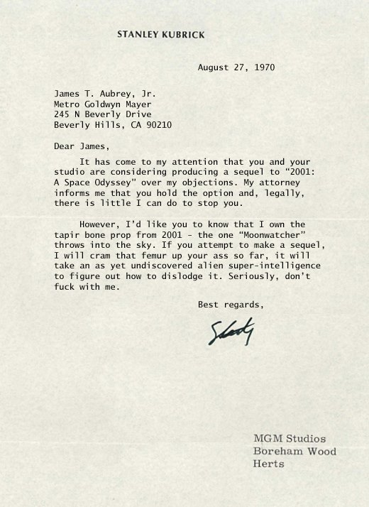 A letter from Stanley Kubrick to MGM