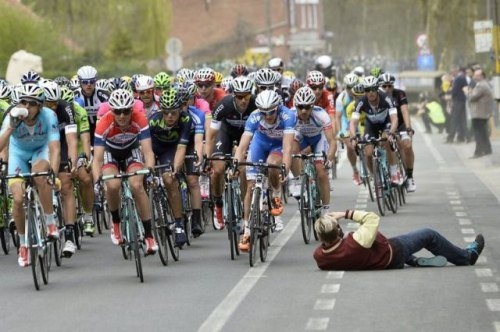 brave photographer at bike race
