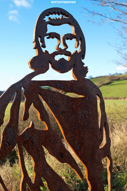 A metal sculpture on the Caerleon cycle path
