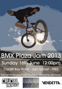 A poster for Cardiff Skate plaza bmx jam