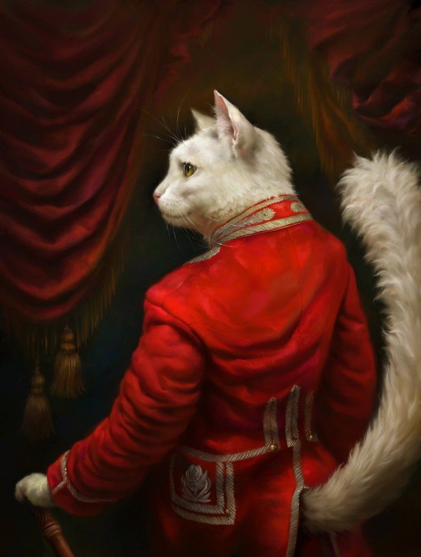 The series of Hermitage's court cats portraits stylized as classical oil paintings by Eldar Zakirov