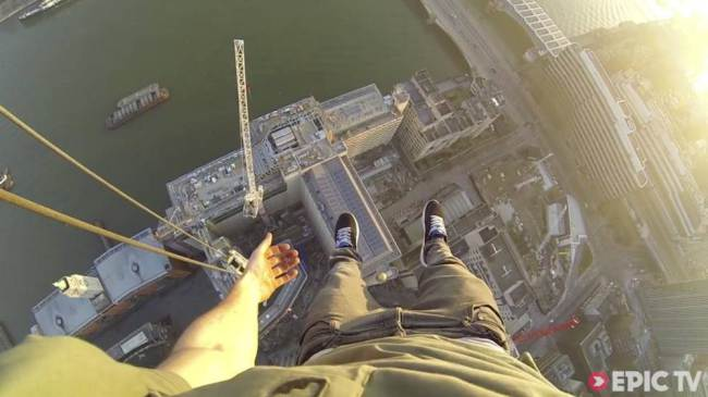 James Kingston climbing a 500ft crane in London