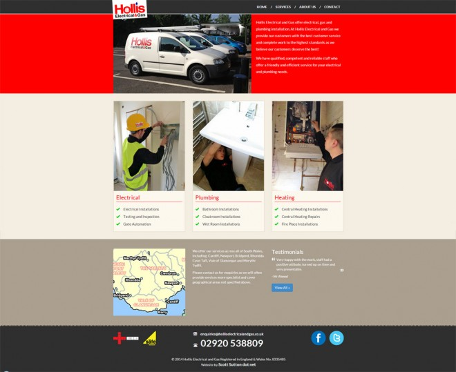 Hollis Electrical and Gas ltd website screengrab
