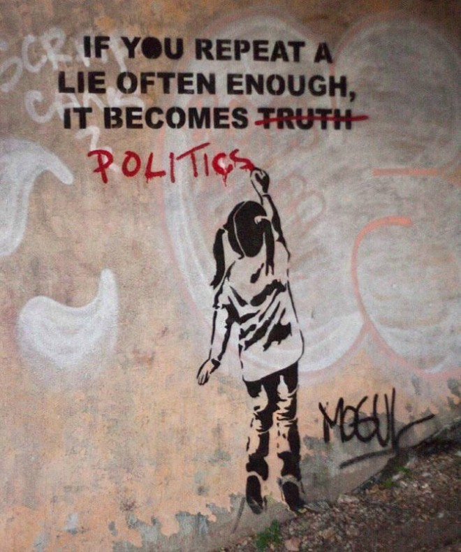 If you repeat a lie often enough it becomes politics
