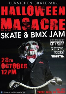 Flyer for the 2012 Llanishen skatepark Halloween skate and bmx jam