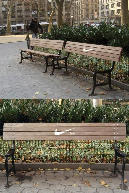 Creative nike advertising on bench